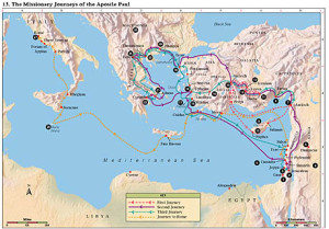 Bible Map 13 - The Missionary Journeys of the Apostle Paul