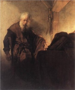 St Paul at his Writing Desk by Rembrandt